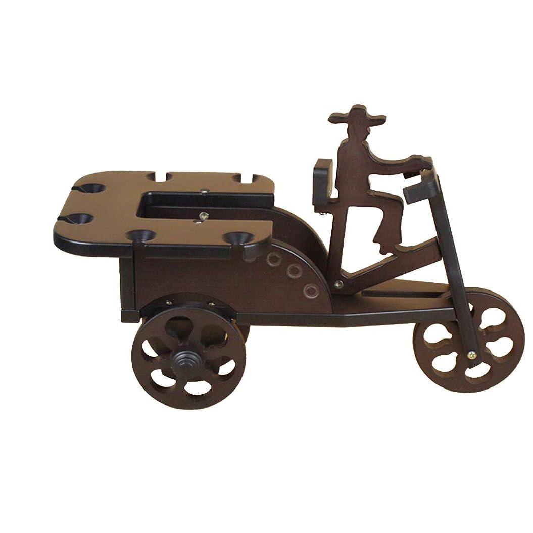 慢性的公消費するJPAKIOS 家庭用品木製の人力車の形のシングルボトルワインラック (色 : ブラウン)