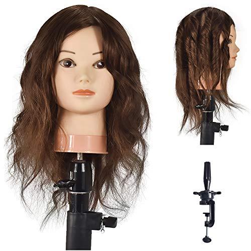 Si Fi Cabeza de maniquí de 20 a 22 pulgadas con maniquí de peluquería 100% cabello humano cabezas de muñeca cosmetología pelo maniquíes cabeza con abrazadera libre