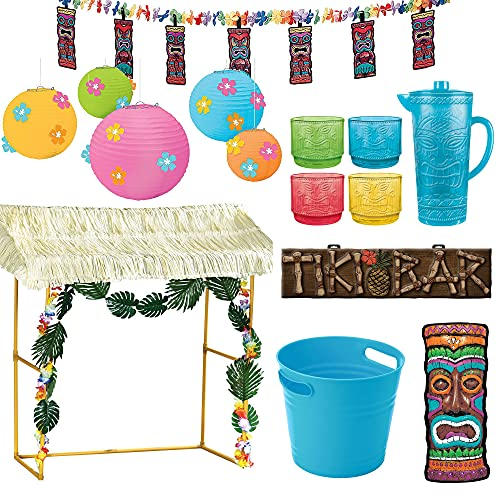 Party City Tiki Bar Decorating Kit, Includes Reusable Tiki Bar Hut, Garlands, Paper Lanterns, Yard Sign and More