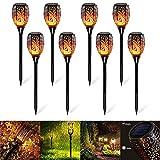 Gartenfackel Solar LED Flamme Licht IP65 Wasserdicht Gartenlampe für draußen, Harsso 8pcs Gartenleuchte Gartenbeleuchtung Fackeln Garten Deko Solar für draußen Gartendeko