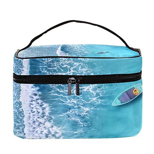 Wave And Boat On The Beach Pattern Makeup Bag Cosmétique Storage Organizer - Trousse de toilette de voyage avec poignée, pinceaux de maquillage, rouge à lèvres