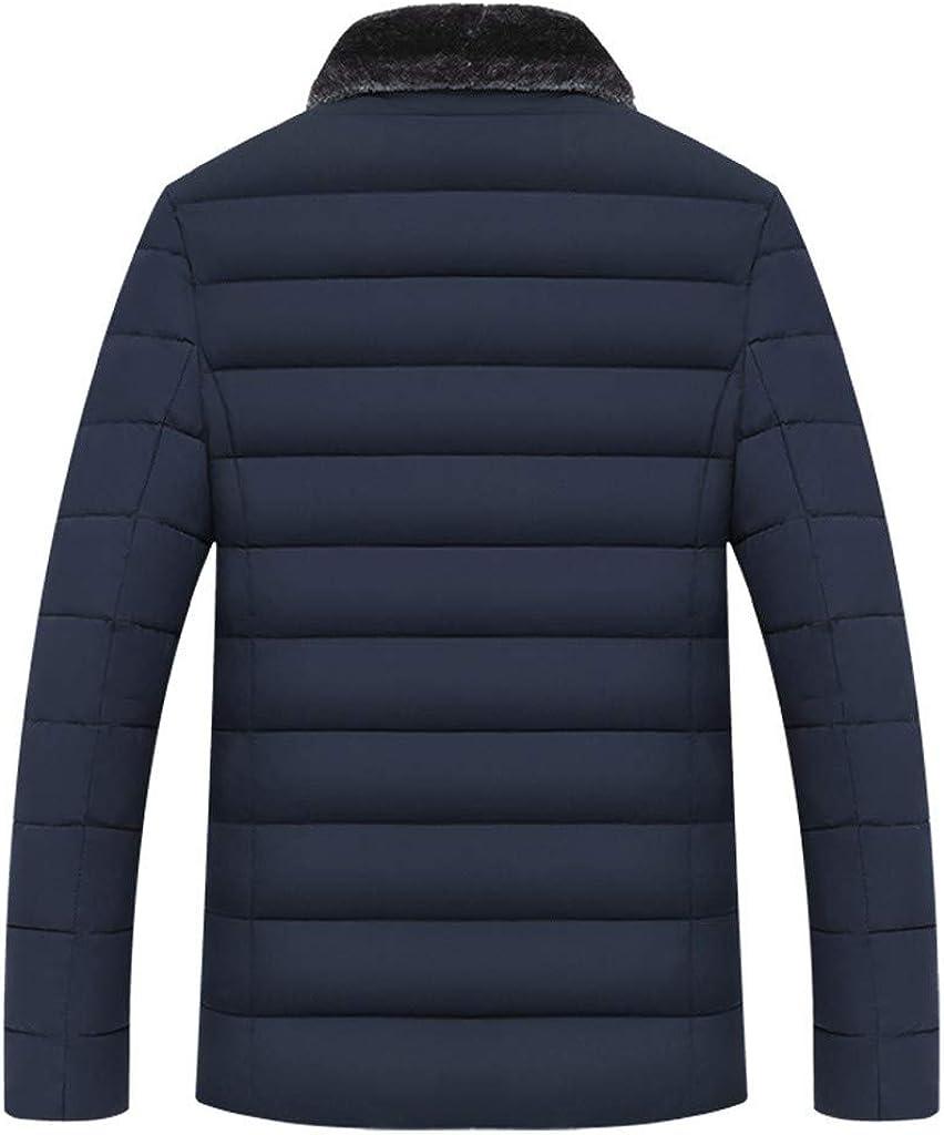 Stoota Men's Lightweight Down Jacket, Stand Faux Fur Collar Regular Fit Solid Warm Zipper Long Sleeve Coat Outwear Blue