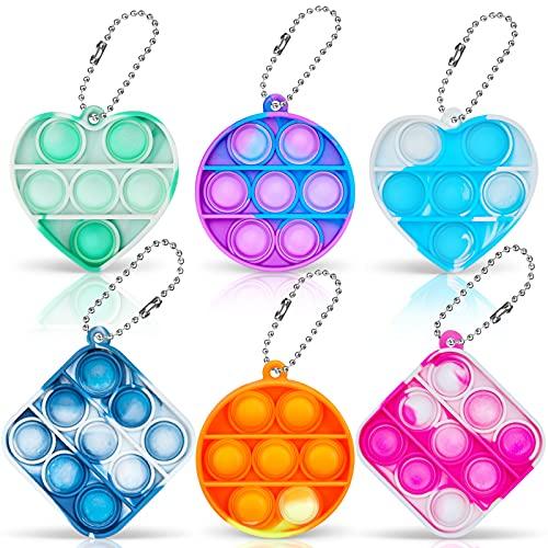GAMTOOCA 6 PCS Mini Pop Sensory Fidget Toys Stress-Relieving Mini Bubble Fidget Toys Keychain for Popular Office Tools Calming Children's Toys, Decompression Toys Suitable for All Ages (Six Colors)