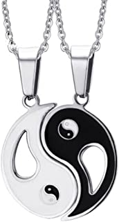 2PCS Matching Ying Yang Taiji Eight Diagrams Pendant Necklace, Stainless Steel Ying and Yang Tai Chi Pendant Necklace for ...