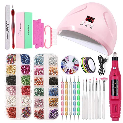 Pro Nail Tools Set Kit, UV Gel Painting Pen Brush LED Lamp Dryer Electric Nail Drill Machine Manicure Rhinestone Decoration Tools Set