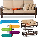 Santosha Decor Solid Sheesham Wood 3 Seater Sofa Set for Living Room with Cushions Home and Office Furniture (Walnut Brown Length 71 Inch X Width 30 Inch X Height 22 Inch 3 Seater Cushion Sofa)