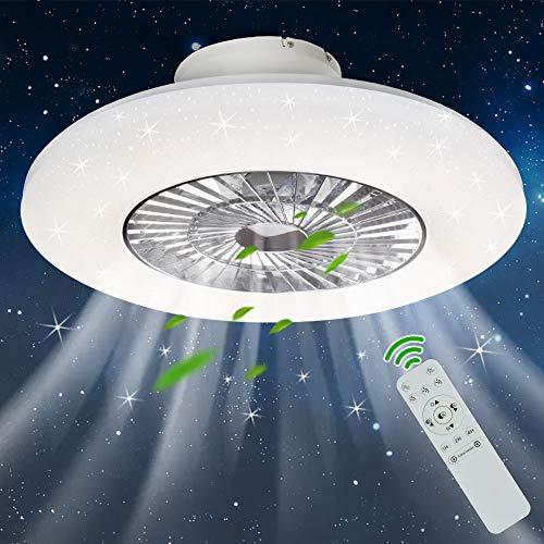 PADMA Deckenventilator mit Beleuchtung & Fernbedienung Leise Dimmbar mit Timer, Einstellbare Windgeschwindigkeit, 40W Deckenleuchte Modern, Farbwechsel 3000K~6500K für Wohnzimmer