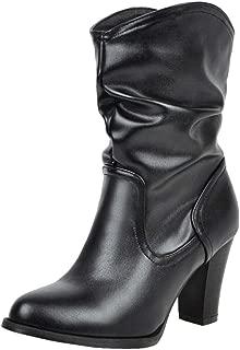 RAZAMAZAWomen Classic Cowboy Boots Chunky Heels