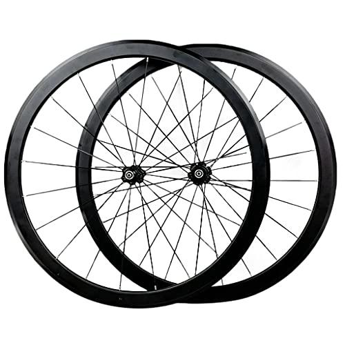 LICHUXIN Ruedas De Bicicleta De Carretera Juego De Ruedas De Bicicleta 700C 40MM Llantas De Aleación De Doble Pared Freno V/C Liberación Rápida 7 8 9 10 11 12 Velocidad (Color : Black-1, Size : 700C)