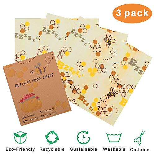 Envoltura Cera de Abejas,Beeswax Food Wrap Reusable Eco Wrap Lavable Envoltorio Sandwich Reutilizable Almacenador de Alimento para Queso,Fruta,Vegetale Set de 3: Pequeño Mediano Grande Wrap Cera Abeja