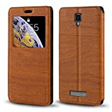 ZTE Blade L5 Case, Wood Grain Leather Case with Card Holder