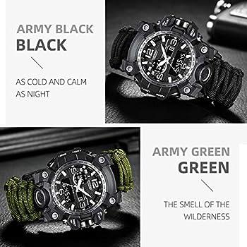 Bracelet de survie montre multifonctionnelle numérique étanche d'urgence militaire numérique de sport de plein air avec corde, sifflet, boussole, allume-feu, pour randonnée en camping aventure (Black)