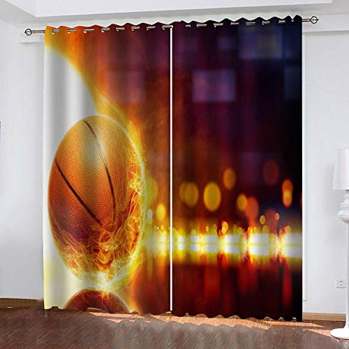 FTBDWOSF Cortinas Opacas 3D Baloncesto Llama Ruido Cortinas Salon Dormitorio Moderno Decoración Impresión Digital 3D Cortinas Térmica Aislante 2 Tamaño del Panel: 170X200 Cm