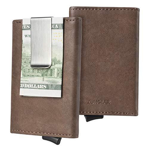 Minimalista Cartera Hombre RFID Tarjetero Cuero con Clip de Billetes, Mini Fundas para DNI, Tarjeta de Crédito, Carnet de Conducir, Moca