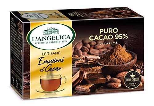 L'Angelica, Le Tisane Emozioni al Cacao, Tisana Funzionale con il Pregiato Cacao Criollo, Puro Cacao al 95%, Senza Lattosio, Senza Glutine e Vegan - 15 Filtri - 10 Confezioni