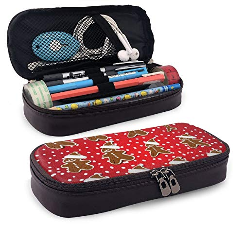 BYTHDA Federmäppchen aus Leder mit weihnachtlichen Keksen, für Make-up, Stifte, Stifthalter mit Reißverschluss, Schwarz, Einheitsgröße
