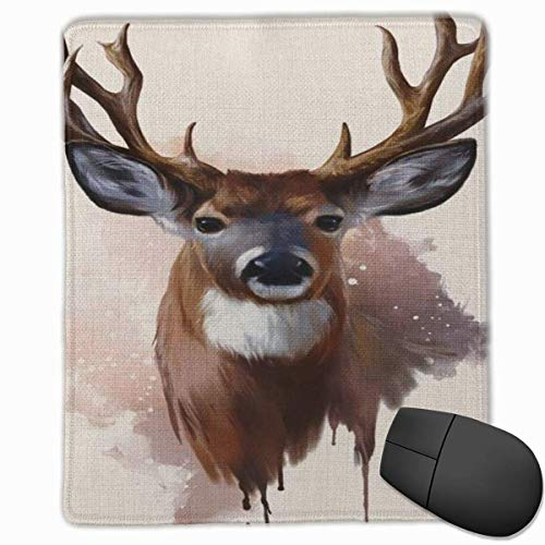 Gaming Mouse Pad, personalisierte benutzerdefinierte Maus Padnon-Slip Gummi Gaming Mouse Pad, bleiben Sie positiv, arbeiten Sie hart und lassen Sie es geschehen Brown Deer Spreading Geweih Aquarellmal
