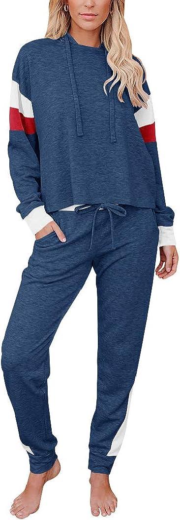Fallorchid Womens Color Block Pajamas Set Long Sleeve Lounge Sets Sleepwear with Pocket
