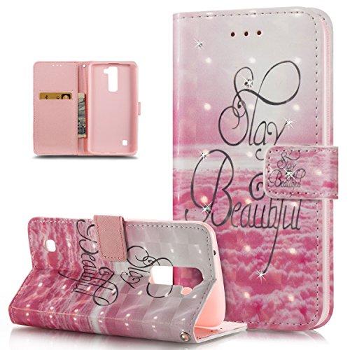 K8 H/ülle LG K7 K8 SONWO Premium Glitzer Strass Flip PU Leder Handyh/ülle mit Diamant Magnetverschluss und St/änder Funktion f/ür LG K7 Blau