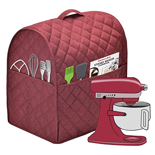 Stand Mixer Dust Cover with 3 Pockets Compatible with KitchenAid Tilt Head, Easy Cleaning ,Can Ironable (Red Wine, Fits for 6-8 Quart)