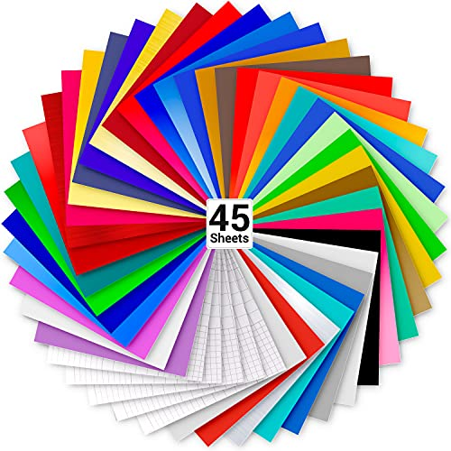 """Vinyl Sheets, Ohuhu 45 Permanent Adhesive Backed Vinyl Sheets Set, 40 Vinyl Sheets 12"""" x 12"""" + 5 Transfer Tape Sheets, 40 Color for Father's Day Party Decoration, Sticker, Craft Cutter, Car Decal"""