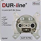 DUR-line Antennendose 4-Loch SAT | Kabelfernsehen | DVB-T | Radio | Unicable für Aufputz und Unterputz geeignet (Enddose, digitaltauglich)