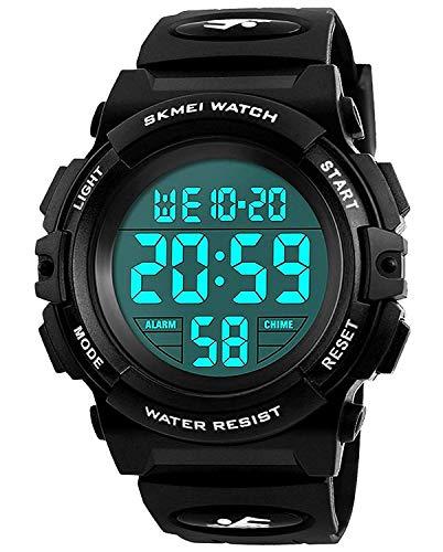 UEOTO Kinder und Jugendliche LED Digital Uhr mit Schwarz Plastik Armband 50m Wasserdichte Sport Kinderuhren mit Wecker für Jungen