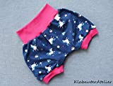 Pumphose kurz Sommer Einhorn Pink Handmade Babyhose Jersey Mädchen 56/62,68/74,80/86/92,98/104,110/116