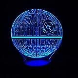 Alientech Star Wars estrella de la muerte 3d visuales LED noche luz sensible al tacto Interruptor Lámpara de mesa USB de carga 7colores habitación decoración colorida iluminación regalo