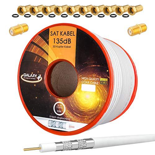 HB-Digital Set 50m Koaxial SAT Kabel 135db Weiß + 10x F-Stecker & 2X F-Verbinder vergoldet | CU Kupfer Satellit Antennenkabel 5-Fach geschirmt für DVB-S/S2 -C/C2 -T/T2 DAB+ Radio BK Anlagen
