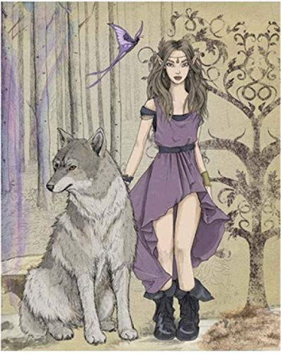 JSBVM DIY Paint by Number Purple Skirt Girl and Wolf Number Paint Children Acrylic Paint kit Children Beginners Number Paint