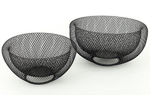 levandeo 2tlg.Schalenset 2er Set Metall 3D Effekt schwarz 24cm & 28cm rund Schüssel Dekoschüssel Schale Dekoschale