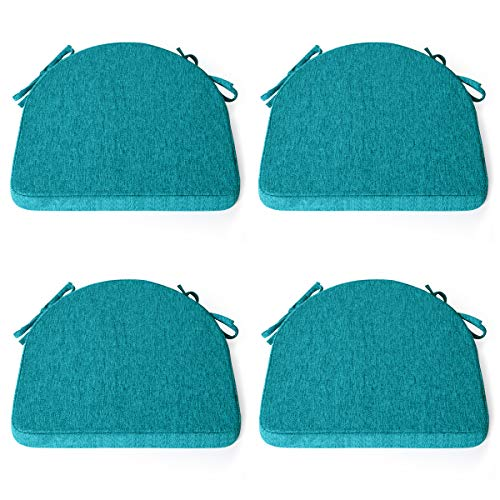 Shinnwa Chair Cushion with Ties for Dining Chairs [17 x 16.5 Inches] Non Slip Kitchen Dining Chair Pad and Seat Cushion with Machine Washable Cover Set of 4 - Teal