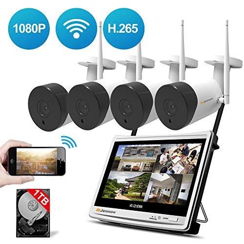 Security Camera System Wireless All in one with 12' Monitor, Jennov 4 Channel Wireless Home Security Camera System with 4PCS 2.0MP 1080P Indoor/Outdoor WiFi Security Camera 1TB Hard Drive Free App