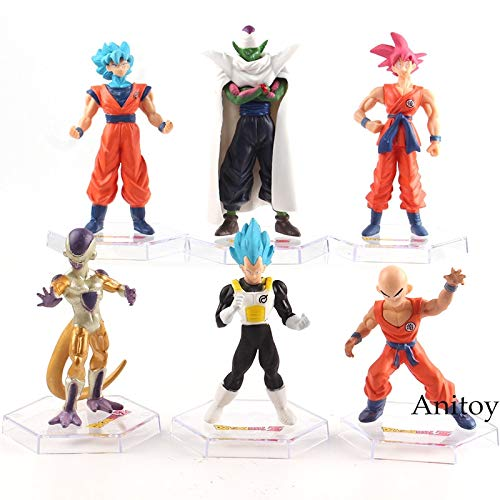 Romantic-Z Dragon Ball Z Figurines Super Saiyan Figura Son Goku Dios Vegeta Krillin Piccolo Freezer PVC Dragon Ball Figura Juguetes 6pcs / Set