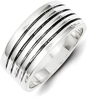 925 Sterling Silver Ribbed Band Ring Fine Jewelry Gifts For Women For Her