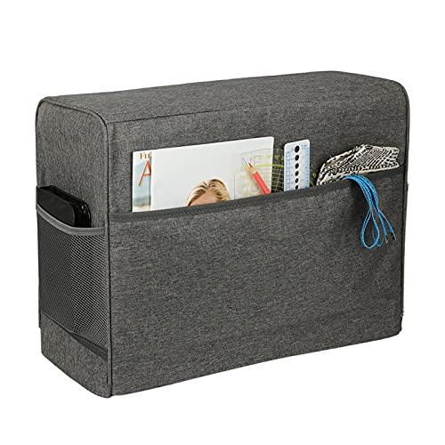 Funda antipolvo para máquina de coser, con 2 bolsillos para máquina de coser, tela Oxford 600D, compatible con la mayoría de máquinas de coser estándar (gris)