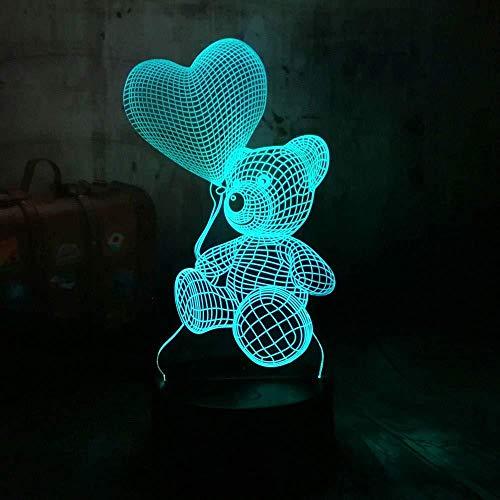 3D nachtlampje beer schattige beer liefde ballon tafeldecoratie geschenken voor kinderen Halloween, kerstcadeaus