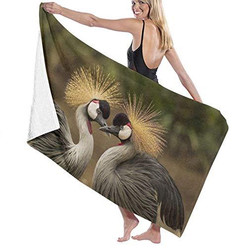 Toallas de baño Grandes súper Suaves,Grulla coronada Gris Pájaro Grulla Animal Mundo Animal Tocado Aves Naturaleza,Toallas de Playa Secado rápido suavidad,80x130cm