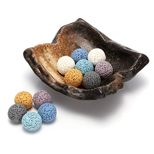 Top Plaza Lava Rock Gemstone Aromatherapy Essential Oil Diffuser Set - Irregular Shape Ceramic Incense Burner/Ware/Holder/Bowl With 12Pcs Lava Stone Balls
