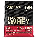 Optimum Nutrition Gold Standard 100% Whey Proteína en Polvo, Glutamina y Aminoácidos Naturales, BCAA, Double Rich Chocolate, 146 Porciones, 4,53kg, Embalaje Puede Variar