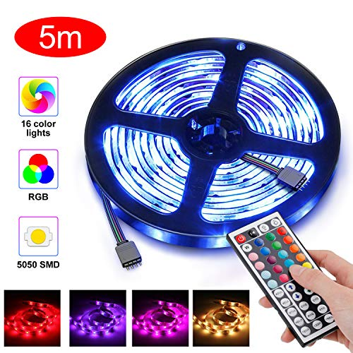 innislink LED Strip 5m, LED Streifen RGB stripes LED Leiste Band Led lichterkette mit Fernbedienung, Dimmbar Farbwechsel Flexible Lichtband licht lights LED Bänder Beleuchtung für Haus Party Bar TV