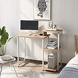 GLCHQ Librero Mesa de escritorio con estantes de almacenamiento, para estudiante, escritura, ordenador portátil, pequeños espacios, oficina en casa, estación de trabajo (roble, 100 x 40 x 85,5 cm)