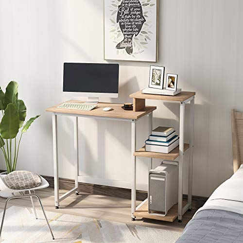 Computer Desk With 3 Tier Storage Shelves - Student Study Table with Bookshelf Modern Wood Writing Desk PC Laptop Table With Steel Frame for Small Spaces Home Office Workstation Natural