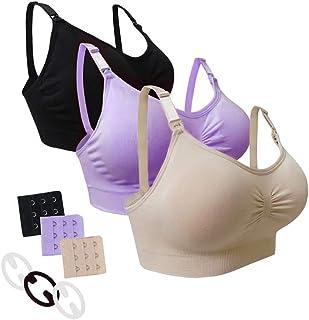 Desirelove Sujetador de Lactancia Maternidad 1 and 3 Pack Sujetadores sin Costuras con Almohadillas de prevención de derra...