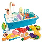 FUNTOK Color Changing Kitchen Play Sink Toys 31pcs, Heat Sensitive Electric Dishwasher Sink with Running Water, Automatic Water Circulation System, Play House Pretend Role Play Toy for Boys Girls Gift