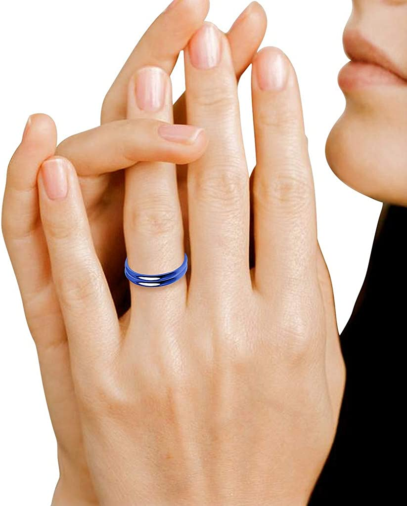 Yellow Tone Blue /& Black Finish Rose Tone IJewel Stackable Wedding Bands 2mm Rings in Stainless Steel