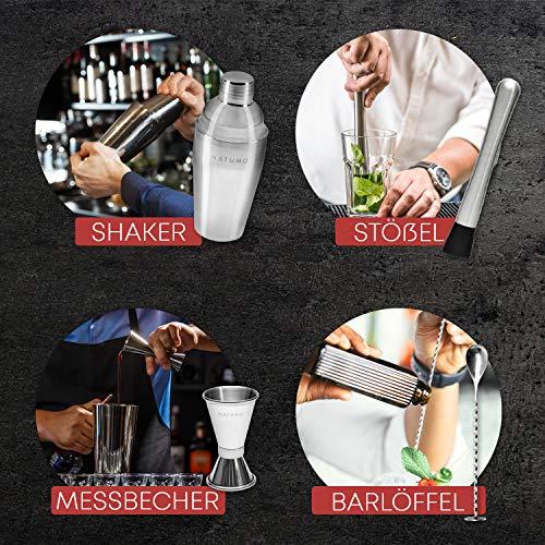 NATUMO ® Cocktail Shaker Set Edelstahl - 10 teiliges Cocktailshaker Set, Cobbler Shaker, Doppel-Messbecher, Stößel, Dosierer, Löffel, Strohhalme - 5