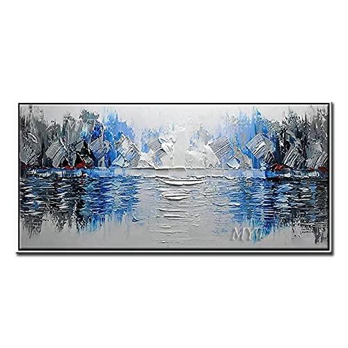 Lienzos Pared Decorativos Cuchillo pinturas abstractas pintura al óleo hecha a mano arte abstracto de la pared pinturas azules ilustraciones cuadros de pared para la decoración de la sala de e