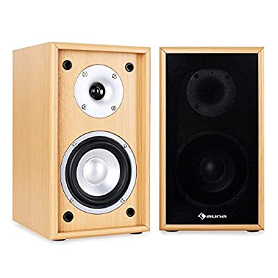 auna Line 300-SF-BH Passive Hifi Bookshelf Speakers (2 x 35W RMS, Low Res Wood Cabinet & Gold Plated Speaker Connections) Beech from Auna